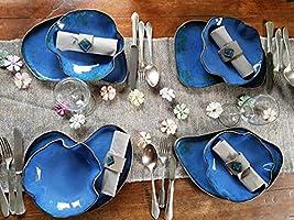 Handgemachte Keramikteller, Gedeck für 4 Personen
