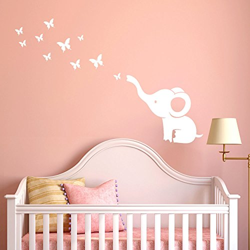Youmymine 3D DIY Kunst Elefant Schmetterling Wandaufkleber Aufkleber Kinderzimmer Dekoration weiß