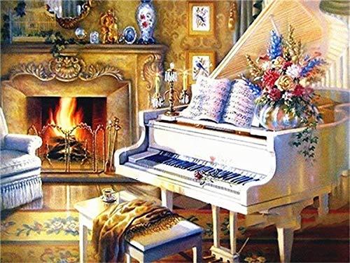 Pintura de diamantes 5d Piano redondo completo Kits de arte de bordado de diamantes paisaje de flores decoración del hogar A1 40x50cm