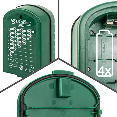 VOSS.sonic Ultraschall Vertreiber mit Bewegungsmelder & Blitz - Marderschreck, Katzenschreck, Tierschreck, Waschbären inkl. Netzteil und Erdstab - 6