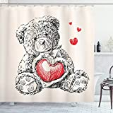 Ambesonne Nursery Shower Curtain, Detailed Teddy Bear Drawing with Heart Instead of a Belly Mini Floating Hearts, Cloth Fabric Bathroom Decor Set with Hooks, 70' Long, Red Black White