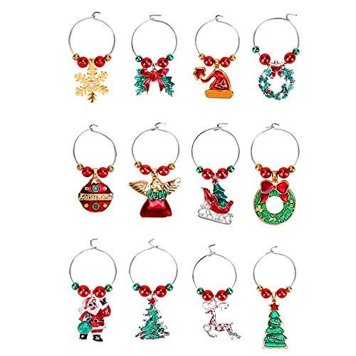 Fransande 12 abalorios de copa de vino con temática de Navidad, marcadores de copas de vino, lindos anillos de bebida, etiquetas para regalos de fiesta de Navidad