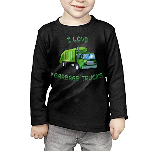 Arromper Green I Love Garbage Trucks Girls&Boys Long Sleeve T-Shirts 2 Toddler Black