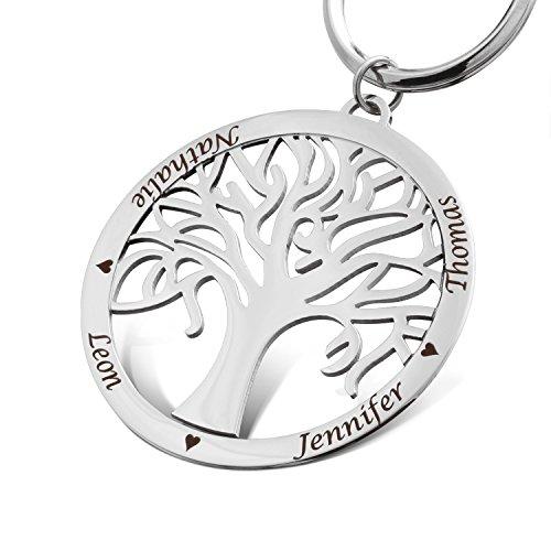 Juwelier Schönschmied - Unisex Schlüsselanhänger herren schlüsselanhänger damen schlüsselanhänger stammbaum schlüsselanhänger aus Edelstahl inkl. Gravur SA23 - Dewo