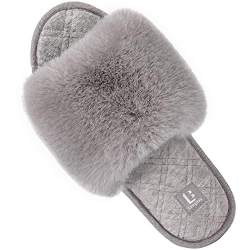LongBay Women's Fuzzy Faux Fur Memory Foam Cozy Flat Spa Slide Slippers Comfy Open Toe Slip On House Shoes Sandals (Medium/ 7-8, Gray)
