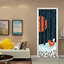 AZLIXLH Anime Fox Forest Snow Night Door Pegatinas Autoadhesivas PVC Dormitorio Wallpapers 3D Creativo Decoración del Hogar Puerta Mural DIY