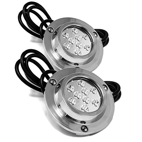 Five Oceans Round 9 Blue LED Underwater Boat Light with Stainless Steel Bezel (Pair) FO-4005-M2