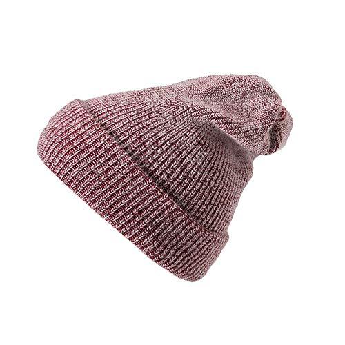 SYWJ Sombrero de Abrigo Moda Vintage Prensado Mujer Invierno Tejer Lana Cálido Sombrero de Mujer Diario Slouchy Sombreros Suave (Color: Rojo Vino)