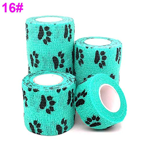 NECPrinted Sports Knee Protector Medical Therapy Elastic Bandage Colorful Self Adhesive Wrap Tape Finger Joint Pet,Dog Claw Lake Green,Width 2.5cm