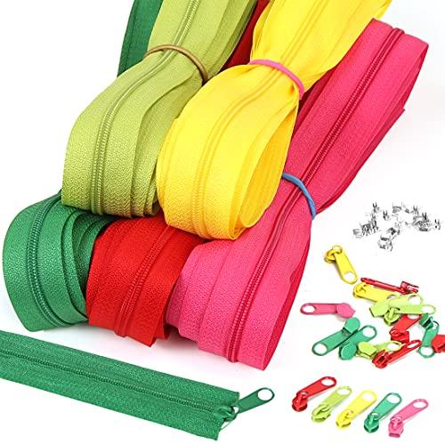 Wishstar Reißverschluss, Reißverschlüsse Farben mit Zlideon und Endstück, Reißverschlüsse Benutzt für Kinderkleidung, Puppenkleidung, Handtaschen, Koffer