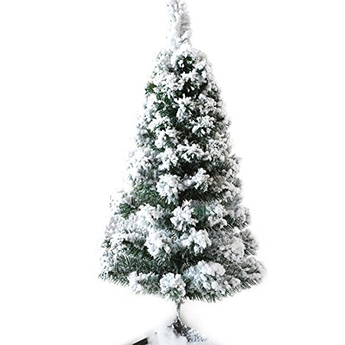 CHICHIC 3ft Mini Flocked Christmas Trees Small Christmas Tree with Snow Artificial Tabletop Christmas Tree Realistic Miniature Tiny Desk Top Table Faux Xmas Decorations Decor, 120 Branch Tips, White