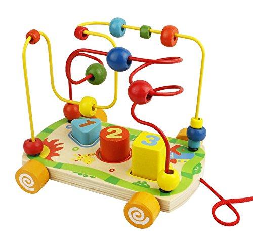 Motorikwürfel Motorikschleife Holzspielzeug mit 2 Farbspuren Motorikspielzeug Labyrinth Abakus Bead Maze Pädagogisches Spielzeug für Kinder ab 18+ Monate