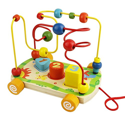 Nuheby Boulier Labyrinthe Circuit de Motricité Boulier Montessori Bebe Jouet Bois Jeux Educatif 18 Mois Fille Garcon et Plus