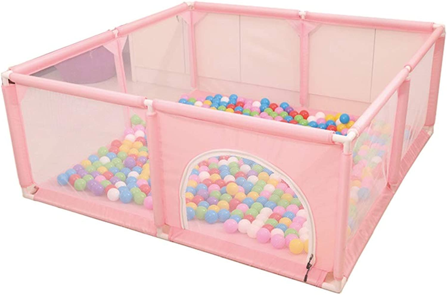 GAIXIA Baby Playpen Toddler Compact Safety Play Center Yard with Breathable Mesh and Double Zipper Door (color   Pink, Size   150×150×62cm)