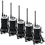 Retevis RT7 Walkie Talkies for Adults Rechargeable 16CH Hand Free Emergency Long Range Two Way Radio with Earpieces(Silver Black,5 Pack)