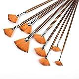 9本セット 油絵筆 扇形ブラシ ペイントブラシ ナイロン毛 水彩画ブラシ ガッシュ 初心者 子供 大人 木製ハンドル