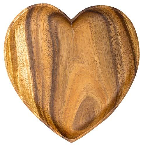 levandeo Holzschale Akazie 20cm Herz Design Snackschale Schale Obstschale Obstkorb Tischdeko Deko