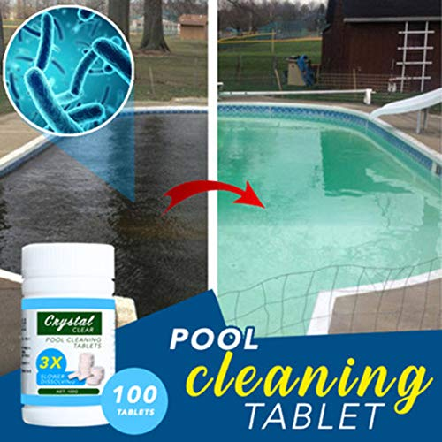 Zooarts Magic Swimming Pool Cleaning Tablet with Floating Chemical Dispenser, Pool Maintenance Tablets, Reinigungstabletten, Multifunktions Schnell lösliche Chlortabletten (1 Bottle(100Tablets))