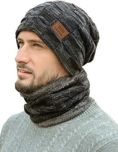 LCZTN Mens Winter Beanie Hat Scarf Set Warm Fleece Lined Knit Ski Hats Slouchy Skull Cap for Unisex Gift (Black)