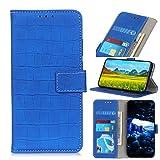 LMFULM® Hülle für HTC Desire 19 Plus (6,2 Zoll) PU Leder Magnet Brieftasche Lederhülle Crocodile Muster Stent-Funktion Ledertasche Flip Cover für HTC 19 + Blau