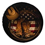 EZON-CH Spare Tire Cover Universal Car Cover West Cowboy Hat with Boots Rope USA Flag Pop Tough Tire Wheel Covers for Truck SUV Trailer Camper RV Cover, Sun Rain Snow Protector 16 Inch