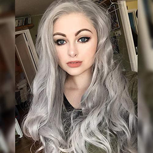HEAHAIR Grey Long Wavy Synthetic Lace Front Wig Heat Resistant Fiber Hair Wigs HS0011 (Grey)