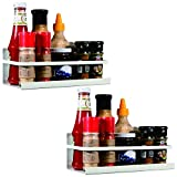 YCOCO Magnetic Spice Rack Organizer Single Tier Refrigerator Spice Storage Shelf, Easy to Install The Side of The Refrigerator Can Hold spices, Jar of Olive Oil, Cooking Oils, Salt, Pepper,Pack of 2