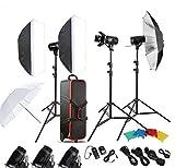 Gowe Photo Studio Speedlite éclairage lampe kit avec ensemble de 300W Flash de studio Strobe support de lampe à lumière de porte de Grange Trigger