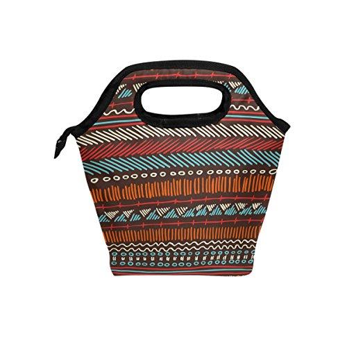 Bolsa de almuerzo, diseño tribal indio, vintage, con aislamiento térmico, cierre de cremallera para niños y adultos
