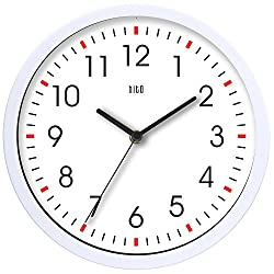hito Silent Wall Clock Non Ticking 10 inch Excellent Accurate Sweep Movement Glass Cover, Modern Decorative for Kitchen, Living Room, Bathroom, Bedroom, Office (White w/ red dots)