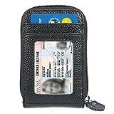 Mujer Tarjeteros - Negro Auténtico Cuero Cremallera ManChDa RFID Bloqueo Titular de la Tarjeta Ventana de la Tarjeta de identificación Negocio Caja de Las Tarjetas + Caja de Regalo
