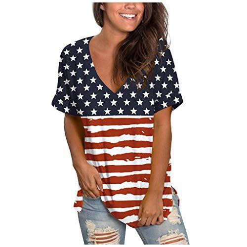 YBWZH Damen Bluse Lässig Mode Kurzarm V-Ausschnitt Casual Kurzarm Bedruckte Tops Bluse Sommer Blusen Frauen Lose O-Ausschnitt Basic Tanktop Blusentop T-Shirt Oberteile