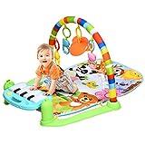 RELAX4LIFE Babyspielmatte mit Licht, musikalische Spieldecke mit abnehmbaren Klavier & Spielsachen, Piano-Gym zum Liegen & Krabbeln & Spielen, Fitness Spielteppich für Babys ab Geburt, Spielbogen