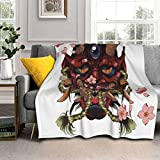 Soft Plush Throw Blanket,Traditional Female Japanese Demon Tattoo Design in Full Color,Warm Cozy Perfect Throw for All Seasons for Couch Bed Sofa 50'x40'