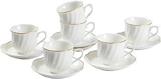 GuangYang Tasses à Expresso Blanche Service à Café - 80ML Ensembles 6 Tasses et Soucoupes en Porcelaine Anglaise Moderne M...