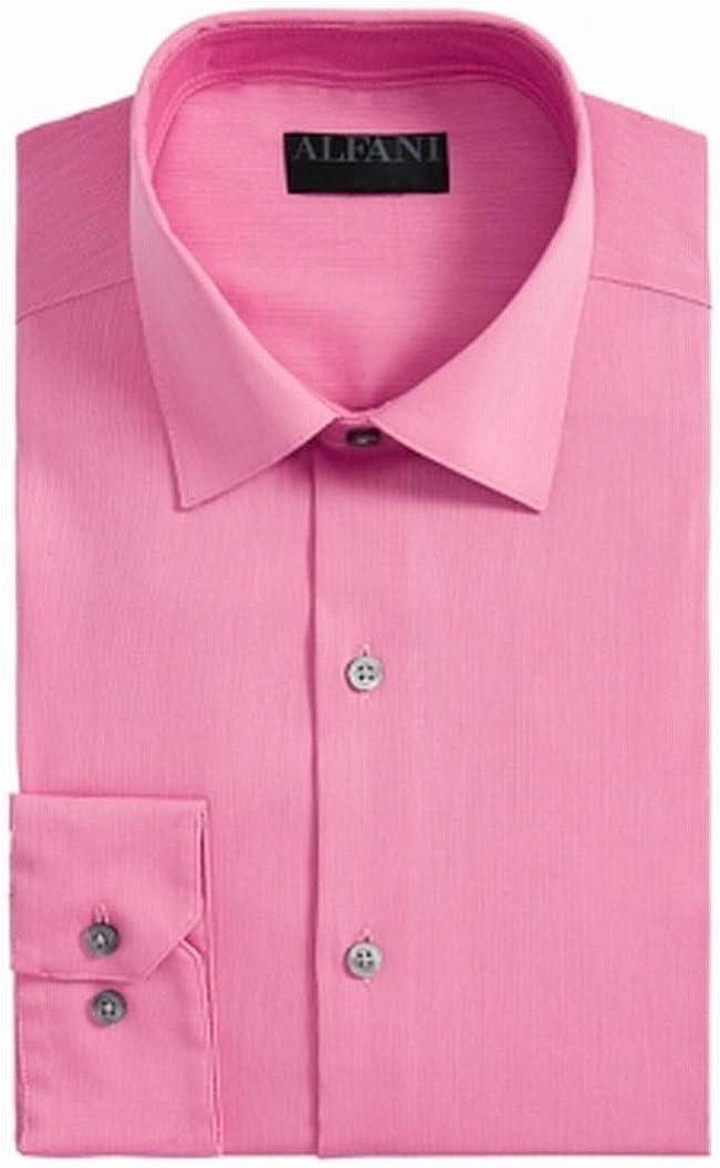 Alfani Mens Bedford Regular Fit Officewear Button-Down Shirt Pink M