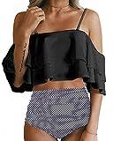 Tempt Me Women Two Piece Swimsuit High Waist Ruffled Bikini Set Black Striped S