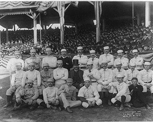 Targa in metallo 8x 10foto da apertura del baseball Season New York VS. Boston 1886