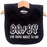 Babero Ba/By color blanco y negro para bebé. Homenaje para bebés rockeros de AC/DC. Regalo chulo para bebés.