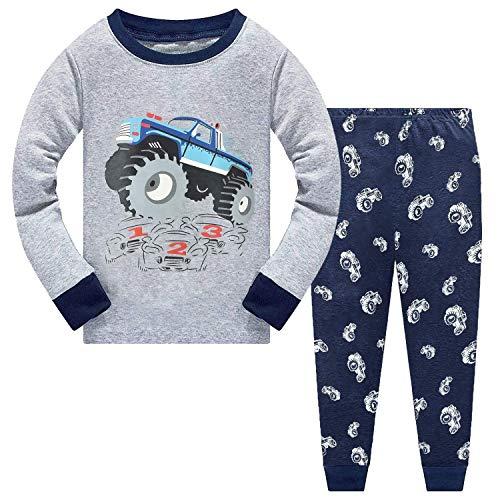 CM-Kid Schlafanzüge Jungen Baumwolle Lange Pyjama Set Kinder Zweiteilige Nachtwäsche Langarm Oberteil + Hose Warm Frühling Herbst Winter Geländewagen Grau 116