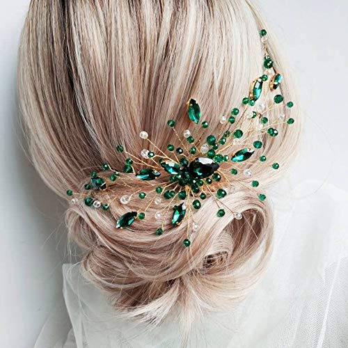Kercisbeauty Boho Crystal Hair Comb for Women Wedding Bridal Headpiece Prom Hair Accessories (Green)