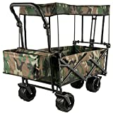 ZQW Collapsible Outdoor Utility Wagon Cart, Portable Heavy Duty Garden Cart with 360° Rotate Wheels Removable Canopy Adjustable Handle for Shopping Beach (Color : C)