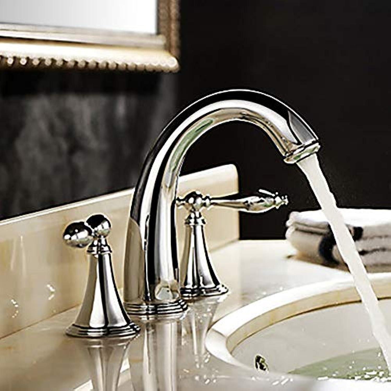 KUVV Clean Moderne Silber Waschbecken Wasserhahn - Wasserfall Chrom DREI-Loch Zwei-Griff DREI-Loch Bad Wasserhahn