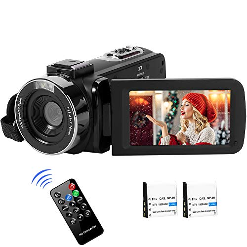 "Videocámara Cámara de Video 2.7K Full HD para Youtube 42MP Vlogging Cámara Zoom Digital 18X con Control Remoto Pantalla LCD de 3.0""2 Baterías"