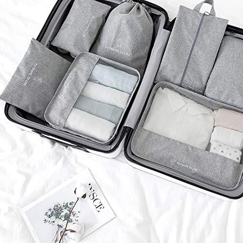 Sac de rangement en sept pièces pour sous-vêtements de voyage, de finition imperméable à l'eau, de voyage, de vêtements, de voyage, de rangement à la maison, gris (Gris) - VMNUV-97030