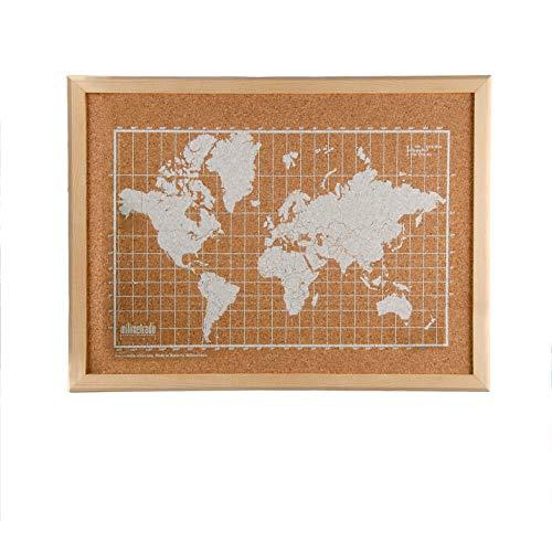 Milimetrado 104330 Mapa del Mundo Blanco de Corcho - Mapamundi de Corcho para la Pared