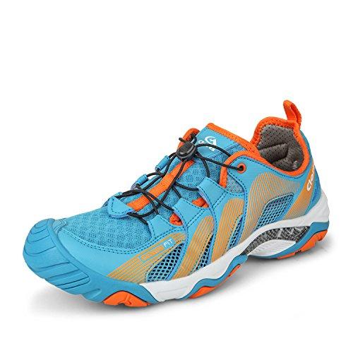 Clorts Men's Water Shoe Lightweight Quick Drying Kayaking Beach Hiking Trekking Walking Sneaker Blue 3H028A US9