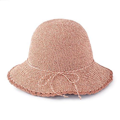WYYY Chapeau Dame Chapeau De Soleil Pliable Fabriqué À La Main Bowknot par Le Travers Protection Contre Le Soleil (Couleur : Pâte de Haricots Rouges)