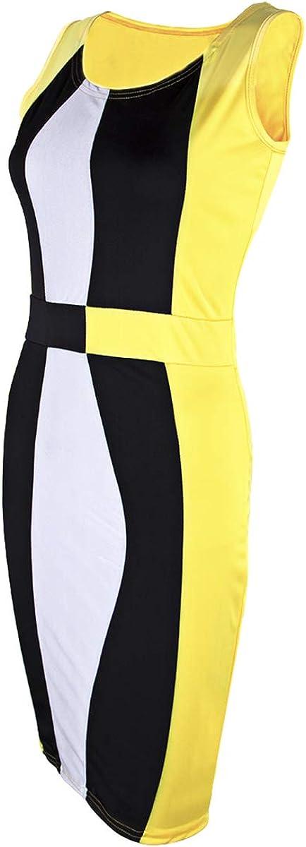 Women's Sexy Bodycon Tank Dress Sleeveless Basic Midi Club Dresses