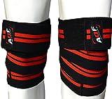 AQF Ginocchiere per Sollevamento Pesi Bendaggio Altamente Resistenti Elasticizzate Cinghie di Mantenimento Protezione Powerlifting, Squatting (Nero & Rosso)